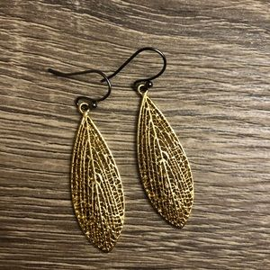 Anthropologie gold colored leaf earrings